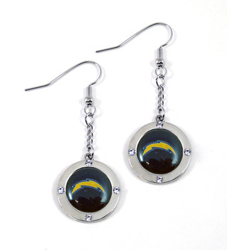 Los Angeles Chargers Round Crystal Dangler Earrings