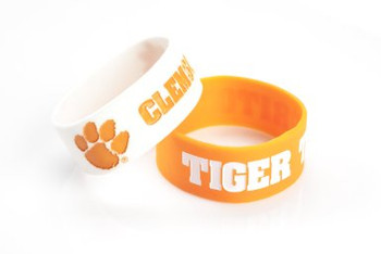 Clemson Wide Wristbands (2 Pack)