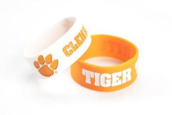 Clemson Wide Wristbands (2 Pack)