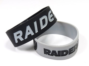 Oakland Raiders Wide Wristbands (2 Pack)