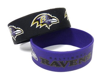 Baltimore Ravens Wide Wristbands (2 Pack)