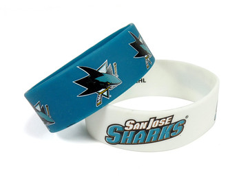 San Jose Sharks Wide Wristbands (2 Pack)