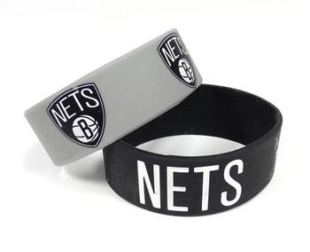 Brooklyn Nets Wide Wristbands (2 Pack)