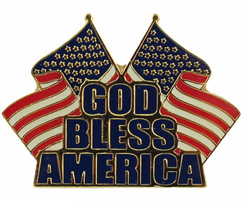 God Bless America Dual Flag Pin