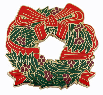 Holiday Wreath Pin - Oversized at 1.5""