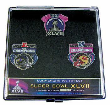 Super Bowl XLVII 49ers vs. Ravens Head To Head Pin Set - LTD 5,000