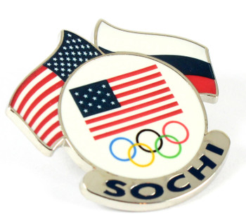 Sochi 2014 Olympics USA / Russia Dual Flags Pin