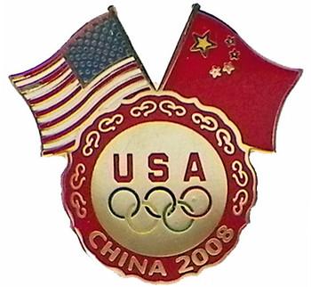Beijing 2008 Olympics Dual Flags Five Rings Pin