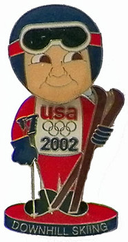 2002 USA Ski Team Bobble Head Pin