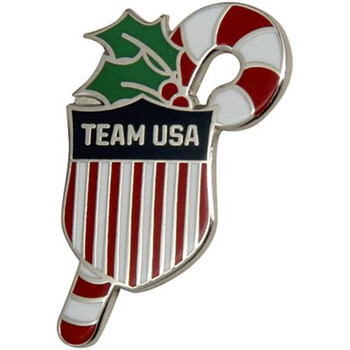 USA Olympics Candy Cane Team USA Shield Holiday Lapel Pin
