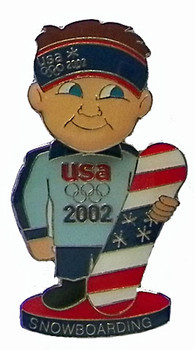 2002 USA Snowboard Team Bobble Head Pin