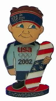 2002 USA Snowboard Team Bobble Head Pin