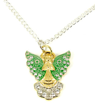 Christmas Holiday Angel Necklace w/ Rhinestones - Sandy Hook Green Wings