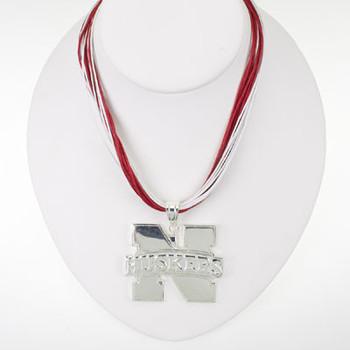 """Nebraska Logo Multi-Cord 18"""" Necklace"""