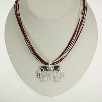 "Mississippi State Logo Multi-Cord 18"" Necklace"