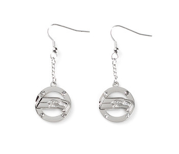 Seattle Seahawks Crystal Cut-Out Danger Earrings