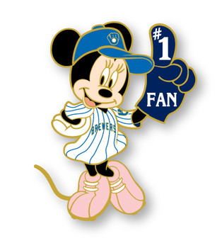 Milwaukee Brewers Minnie Mouse #1 Fan Disney Pin