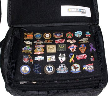 Large Collector Lapel Pin Bag - 3 Page Black w/ Black Piping