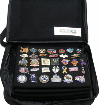 Extra Large Collector Lapel Pin Bag - 5 Page Black w/ Black Piping