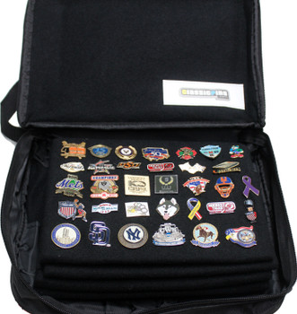 Extra Large Collector Lapel Pin Bag - 5 Page Black w/ Blue Piping