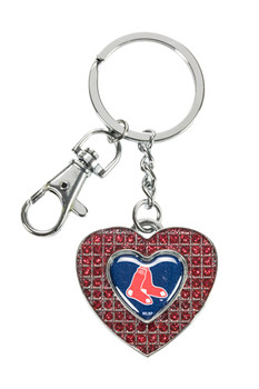 Boston Red Sox Glitter Stone Heart Key Chain