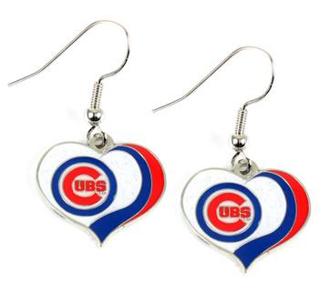 Chicago Cubs Swirl Heart Earrings