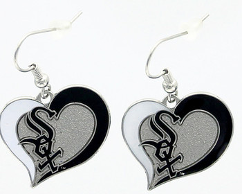 Chicago White Sox Swirl Heart Earrings