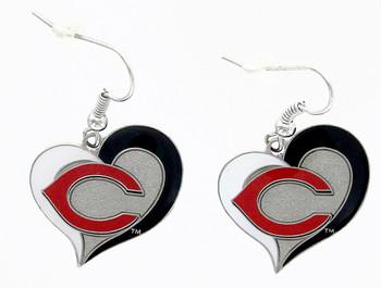 Cincinnati Reds Swirl Heart Earrings
