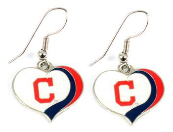 Cleveland Indians Swirl Heart Earrings