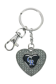 Colorado Rockies Glitter Stone Heart Key Chain