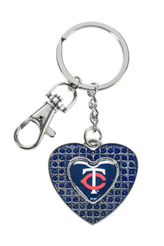 Minnesota Twins Glitter Stone Heart Key Chain
