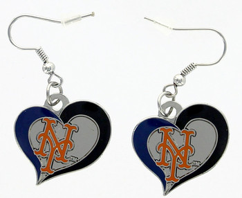 New York Mets Swirl Heart Earrings