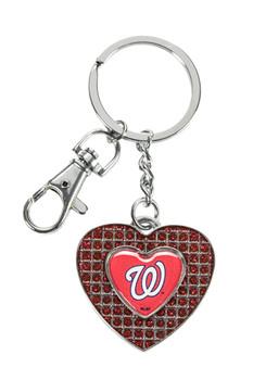 Washington Nationals Glitter Stone Heart Key Chain