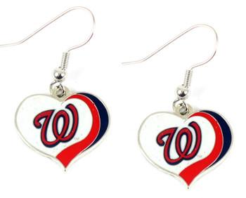 Washington Nationals Swirl Heart Earrings