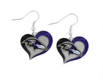 Baltimore Ravens Swirl Heart Earrings