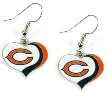 Chicago Bears Swirl Heart Glitter Earrings