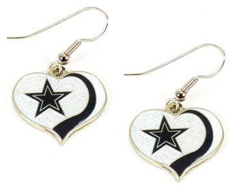 Dallas Cowboys Glitter Swirl Heart Earrings