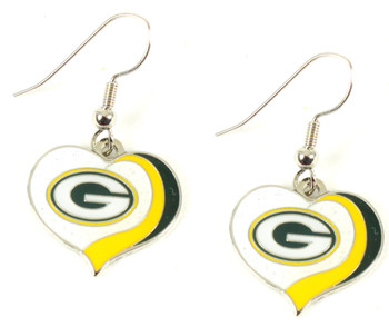Green Bay Packers Swirl Heart Earrings