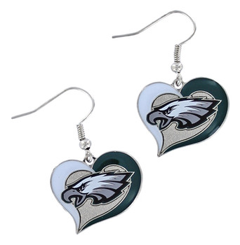 Philadelphia Eagles Swirl Heart Earrings
