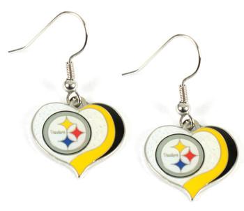 Pittsburgh Steelers Swirl Heart Earrings