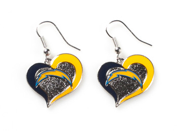 Los Angeles Chargers Swirl Heart Earrings