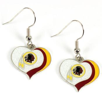 Washington Redskins Swirl Heart Earrings