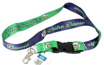 Notre Dame Fighting Irish Reversible Blue & Green Lanyard