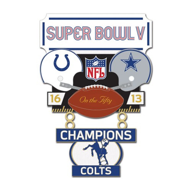 Super Bowl V (5) Commemorative Dangler Pin - 50th Anniversary Edition