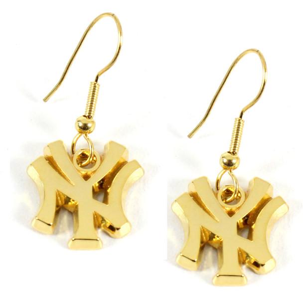 "New York Yankees Gold ""NY"" Earrings"