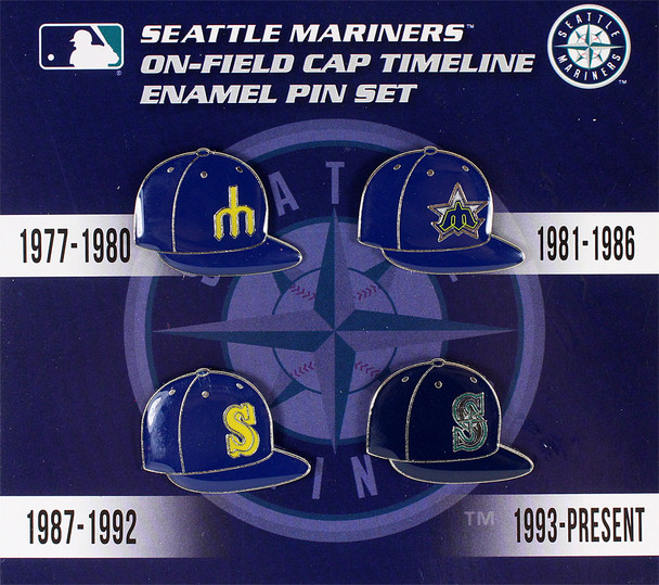 Seattle Mariners Collection Cap Timeline Pin Set