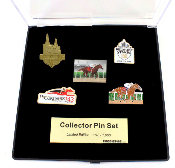 Justify 2018 Triple Crown Winner Five Pin Set - Limited 1,000