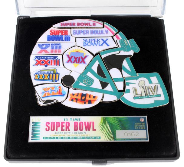 Super Bowl LIV (54) Miami 11-Time Host Helmet Puzzle Pin Set - Limited 5,000