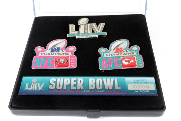 Super Bowl LIV (54) Head To Head Pin Set - 49ers vs. Chiefs - Limited 5,000