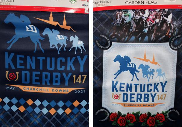 "2021 Kentucky Derby 147th Double Sided Garden Flag 18"" x 12"""